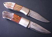 High Quality Stainless Steel + Wood + Antler Handle OEM Damascus Steel Folding Knife Pocket Knife UDTEK01205