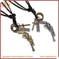 suede string choker necklace gun shaped