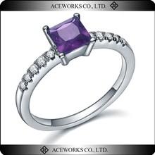 New Design Square Purple Stone 925 Sterling Silver Ring