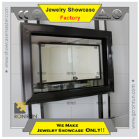 High end 304# stainless steel wall mount jewelry display showcase for jewelry shop interior design