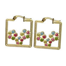 EH-083 Unique Designs Fashion Hollow Square Huggie Earrings with High Quality Stainless Steel