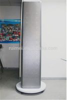 4-way Floor-standing Removable Metal Rotating Pegboard Display Stand