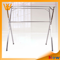 Double rail stainless steel adjustable telescopic house use clothes rack