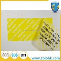 Custom tamper evident polyester sticker label, security label sticker, open void label