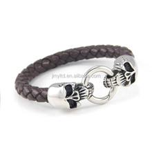 Braided leather men bracelet jewelry skull leather men's jewelry