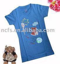 Hot! Newest fashion girls tshirt, tshirts, blue grils tee with nice print soft handfeel