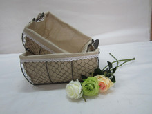 storage mesh wire baskets with fabric liner set of two