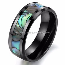 Hot Sale Mens Tungsten Ring with Abalone Paua Shell