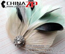 Best selling plume fascinator wholesale JOLIE Ivory Mint Black and White Peacock Feather and Crystal Veil Hair Clip for girls