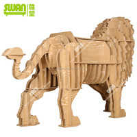 3078 wooden decorative lion coffee table