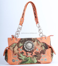 Camo Leather Antique Copper Concho Handbag