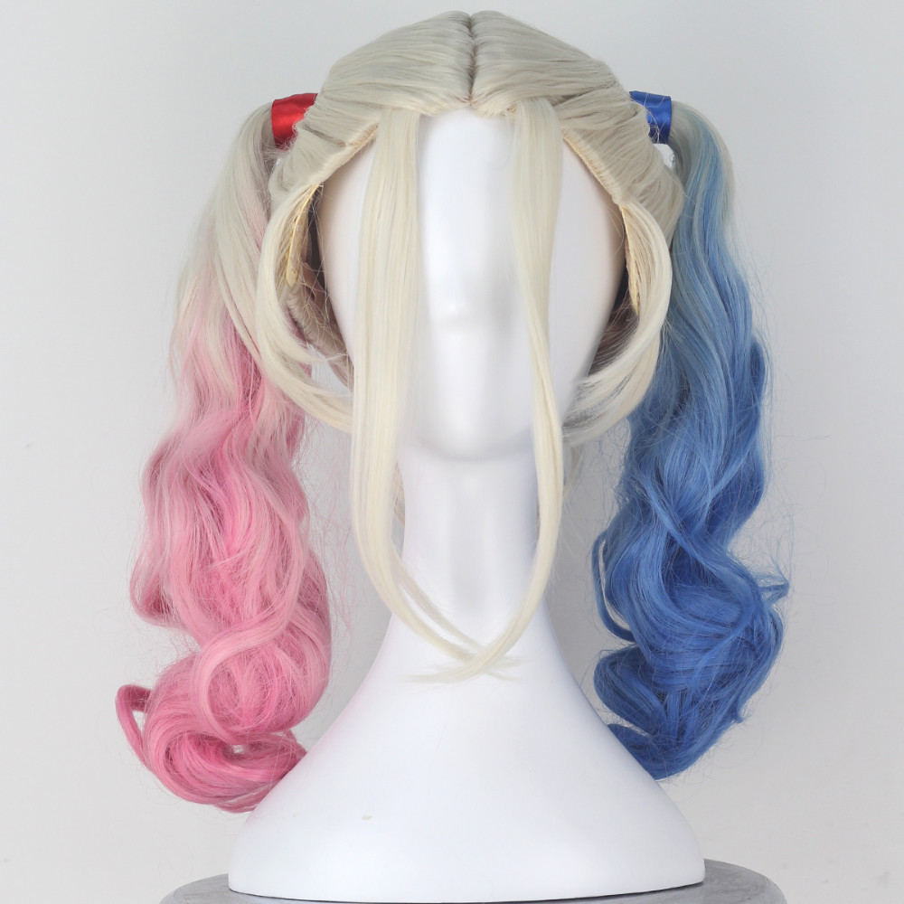 Miss U Cheveux Fille Longs Bouclés Suicide Harley Quinn Équipe Halloween Film Cosplay Costume Perruque