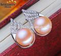 10-11mm aaa botón de aretes de perlas( jhumka) con circón