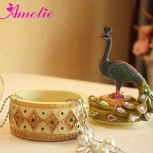 A07K14 Peacock Resin Rhinestone Jewelry Boxes Wholesale India
