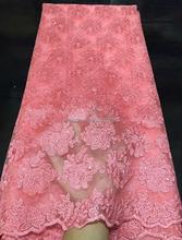 Unique poliester tul bordado tela de encaje con perla