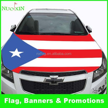 elastic polyester&spandex screen printing custom puerto rico flag car hood cover wholesale