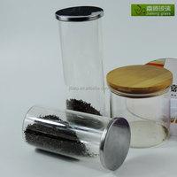 glass candy jar crystal glass jar with metal lid and glass nuts storage jar