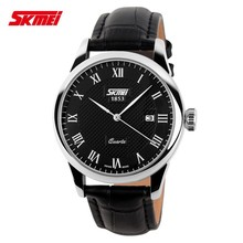 SKmei classic couple watch for lovers,leather strap wristband quartz watch