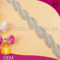 Handmade bridal crystal rhinestone lace trim for wedding dress WRC65