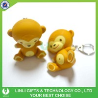 Cheap Promotion Mini Led Sound Monkey Keychain For Children