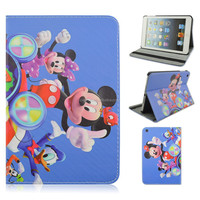 Mickey Mouse Donald Duck Flip Stand PU Leather Tablet Cover Case For iPad mini 1/2/3