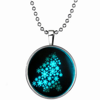 Christmas Glow Gemstone Necklace Fashion Christmas Snow Snowflake Christmas Tree Pendant Necklace