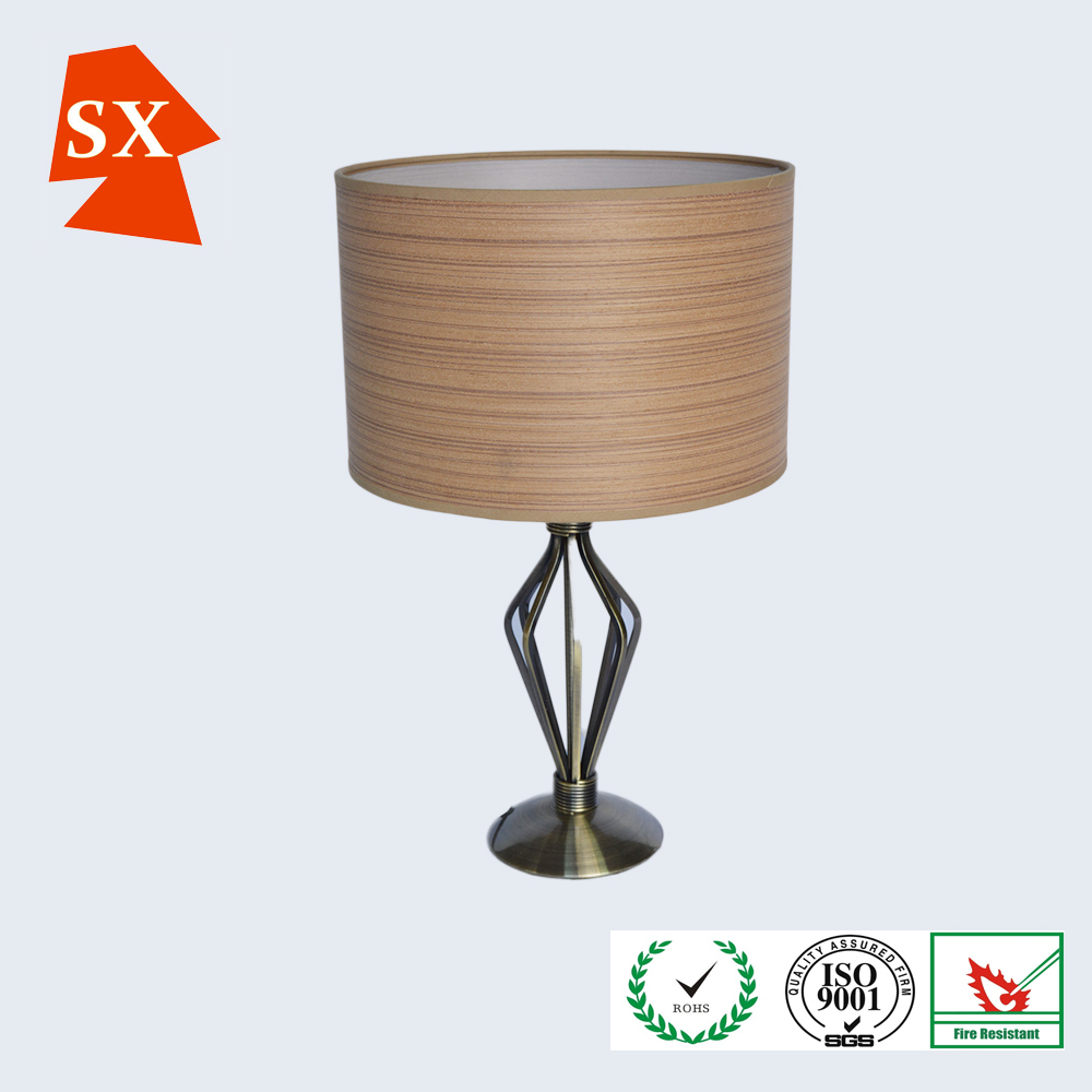 modern furniture round nature wood veneer shade metal base table lamp buy table lamp veneer. Black Bedroom Furniture Sets. Home Design Ideas