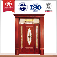 new wood grain interior glass french double doors design from china