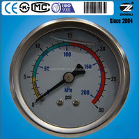 customized 200kPa/ 30Psi diameter 50mm back type glycerine oil caterpillar pressure gauge