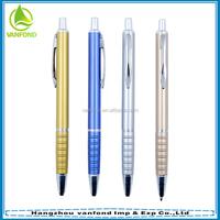 Cheap promotional plastic ballpoint pen with sprayed metallic paint