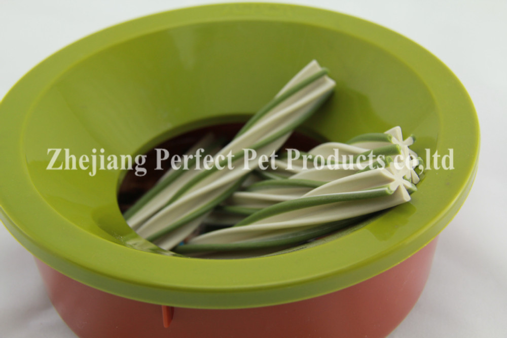 pet food container (dog food two-tone straight dog chews)