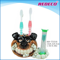 Bothroom toothbrush resin holder with hourglass