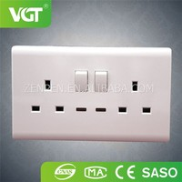 British White Color Double 13A electrical Power Socket Made in China