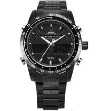 Stainless Steel Strap Analog Digital LCD Black Outdoor Quartz Men Sport Watch