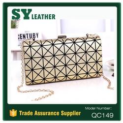 2015 Wholesale bags fashion pu leather faux leather women clutch chain handbag evenlop bags