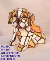 TU-219 Stained glass tiffany dog animal shaped table lamp