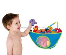 Baby Product Blue Kids Bath Tub Toy Bag - Suction Cup Organizer Mesh Storage Corner Bath Toy Organizer