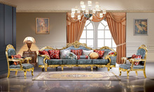 danxueya- royal gold 18th centry baroque antique carved sofa/ luxury classic living room sofa set/villa hotel lobby furniture