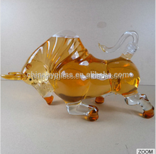 samples free bull ox animal shaped high clear 1.5l wine glass bottles wholesale / clear 350ml wine glass bottle