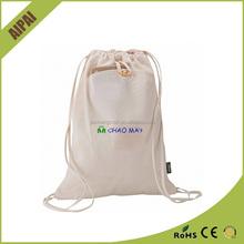 organic small cotton shopping bag printed cotton drawstring bag