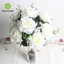 Foshan artificial flower bush for wedding decoration silk rose flower