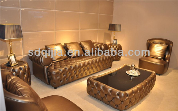 American Style Luxury Chesterfield Dark Grey Leather Sofa Set Living Room Furniture Buy