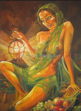 Old Mastered Artists Handmade Sexy Hot Nude Indian Women Oil Painting Canvas for Wall Art Decoration