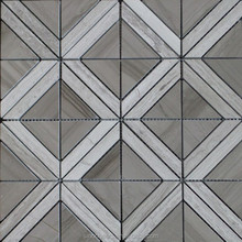 Marble Triangle Mosaic Tile, Wooden Gray