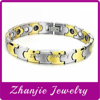 new design high-end health care jewelry , wholesale tungsten two tone stainless steel scalar energy ions bracelet made in China