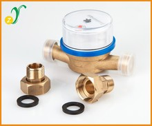 Dry types brass valve cover of single jet digital water flow meter
