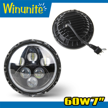 """New arrival real factory 7"""" round led headlamp with hi/lo beam and halo7 inch 60w led off road headlight for jeep wrangler"""