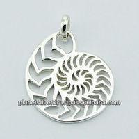 Sterling Silver Openwork Pendant Decorative Ammonite