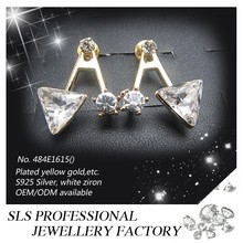 Alibaba SLS wholesale Triangle shape zircon stud earrings with gold plated as a special gift