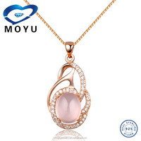 Wholesale jewelry 925 Sterling Silver rose quartz pendant for lady fast delivery
